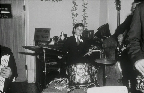 Barry Jekowsky playing drums at 8 years old